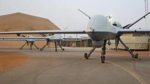 Un drone Reaper sur la base française de Niamey, au Niger.
