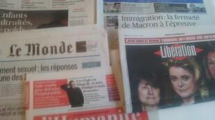 Primeiras páginas dos jornais franceses de 11 de janeiro de 2018