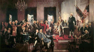 George Washington presiding the Philadelphia Convention, signing of the US Constitution