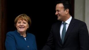 Europe sur fond de Brexit: La chancelière allemande Angela Merkel rencontre le Premier ministre irlandais, Leo Varadkar, à Dublin jeudi 04 avril 2019. 德國總理訪問愛爾蘭,商議處於英國硬性脫歐陰影下的歐洲 2019年4月4日 於都柏林