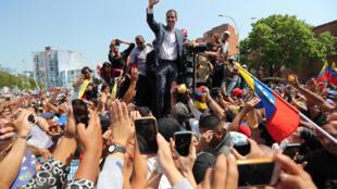 Le leader de l'opposition vénézuélienne Juan Guaido, lors d'un rassemblement contre le président Nicolas Maduro à Guacara, le 16 mars 2019.