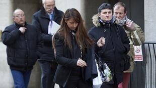 Parents of murdered French au-pair Sophie Lionnet leave the Old Bailey, London's Central Criminal Court, on 19 March 2018.