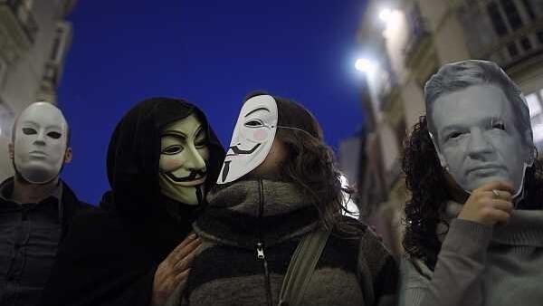 Marcha de apoyo a WikiLeaks. Málaga, el 11 de diciembre de 2010.
