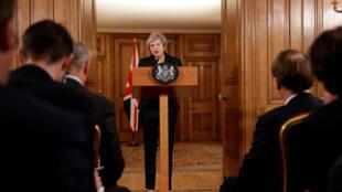 Thủ tướng Anh, Theresa May họp báo ngày 15/11/2018 tại Luân Đôn về Brexit.