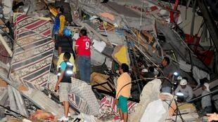 Cảnh đổ nát sau trận động đất tại thành phố biển Manta, Ecuador ngày 16/04/2016.