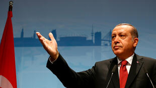 Turkish President Recep Tayyip Erdogan gives a press conference after the G20 summit in Hamburg, Germany