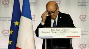 Ngoại trưởng Pháp Jean-Yves Le Drian đọc diễn văn bế mạc hai ngày họp G 7 tại Pháp, ngày 06/04/2019