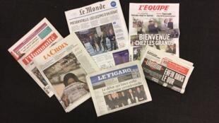 Primeira página dos diários franceses de 21/03/2017
