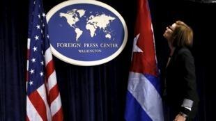 Chuẩn bị họp báo sau vòng đàm phán thứ tư Mỹ-Cuba tại Washington ngày 22/05/2015.