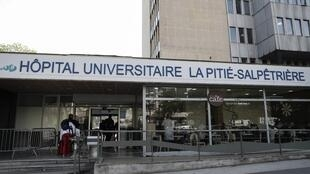 A picture taken on April 15, 2019 shows the entrance of the Pitie-Salpetriere Hospital in Paris.