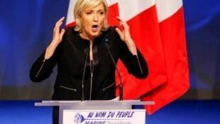 Marine Le Pen no lançamento da sua campanha à presidência da França.