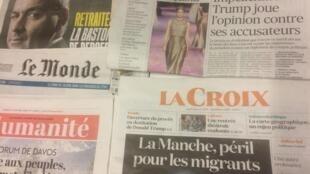 Primeiras páginas dos diários franceses de 21 de Janeiro de 2020.