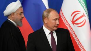 Tổng thống Iran Rohani và tổng thống Nga Vladimi Putin đến họp báo sau cuộc họp với tổng thống Thổ Nhĩ Kỳ Erdogan ở Teheran ngày 07/09/2018.