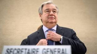 António Guterres, Secretário-Geral da ONU, durante a abertura da 40ª sessão do Conselho dos Direitos Humanos, em Genebra neste 25 de Fevereiro 2019.