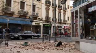 西班牙北非飛地梅利利亞一些建築在地震中受損2016年1月25日