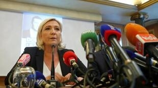 Марин Ле Пен на пресс-конференции в Милане. 18.05.2019