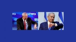 """رهبران دو حزب اصلی اسرائیل، """"بنی گانتس"""" رهبر حزب"""" آبی و سفید"""" و """"بنیامین نتانیاهو"""" رهبر حزب """"لیکود""""."""