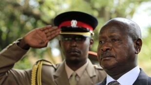 Uganda President Yoweri Museveni on a visit to Kenya