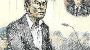 Sketch of Carlos Ghosn during his appearance in court on January 8, 2018