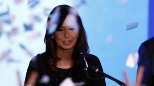 A presidente argentina Cristina Kirchner depois do resultado das prévias em agosto
