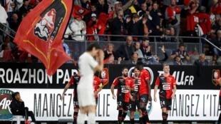 Le match Rennes vs PSG (Ligue 1), le 18 août 2019, après le second but des Rennais.