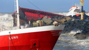 The Spanish cargo ship Luno split in two atAnglet, near Bayonne