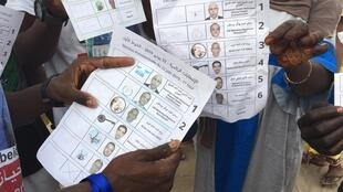 Bulletins de vote pour l'élection présidentielle du 22 juin 2019 en Mauritanie.