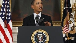 US President Barack Obama speaks about the situation in Egypt at the White House in Washington January 28, 2011