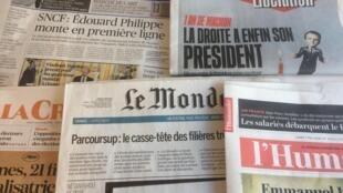 Primeiras páginas dos jornais franceses de 07 de maio de 2018