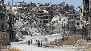 Cảnh hoang toàn do chiến tranh tại thành phố Homs, Syria, ngày 19/07/2016.