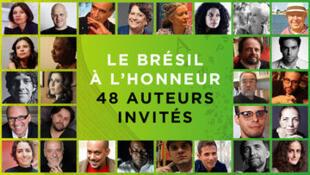 Cartaz do Salão do Livro promovendo encontro com escritores brasileiros