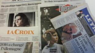 Primeiras páginas dos jornais franceses de 28 de dezembro de 2016