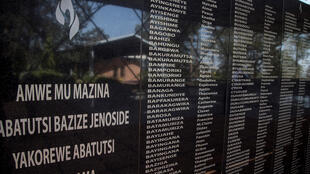 A picture taken on March 22, 2019 shows the names of the victims of the Rwanda's 1994 genocide's at the Ntarama Genocide Memorial, in Kigali. On April 7, 2019, Rwanda will commemorate the 25th anniversary of the 1994 genocide.