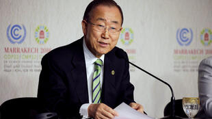 聯合國秘書長潘基文在馬拉喀什聯合國氣候大會上。2016-11-14