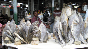 A woman sells salted fish in a local market in Accra