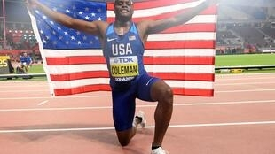 Christian Coleman won the 100 metres ahead of his fellow American Justin Gatlin and the Canadian Andre De Grasse.