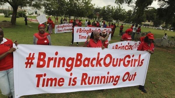 """Демонстрация на 120-й день после похищения школьниц боевиками группировки """"Боко Харам"""", Абуджа, Нигерия, 12 августа 2014 г."""