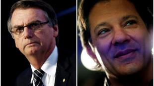 Fotomontagem dos candidatos Jair Bolsonaro e Fernando Haddad.