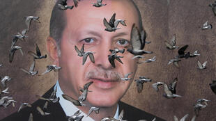 Pigeons fly past a poster of Turkish President Tayyip Erdogan in Bursa, Turkey, April 6, 2019.