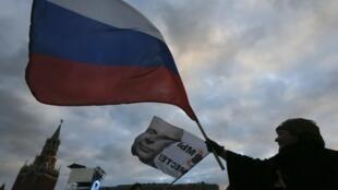 A Moscou, ce mardi 18 mars 2013, lors d'une manifestation de soutien à l'annexion de la Crimée par la Russie.