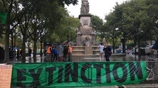 Extinction Rebellion activists began a third day occupying the Place du Chatelet in central Paris on Wednesday, 9 October 2019.