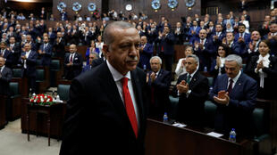 O presidente Recep Tayyip Erdogan, reeleito no 24 de junho, durante a sua investidura esta Segunda-feira 9 de Julho.