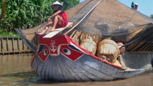 Người dân Vĩnh Long vận chuyển gạo trên sông Mêkông.