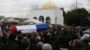 The coffin of Ahmed Merabet at the Muslim cemetery in Bobigny