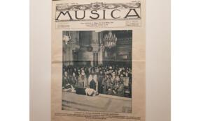 La Une du journal français Musica, juillet 1914. L'audition de musique religieuse à l'église arménienne de la rue Jean Goujon à Paris en honneur des membres du Congrès international de musique. Musée de Komitas à Erevan.