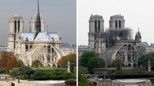 Notre-Dame de París antes y despues del incendio.