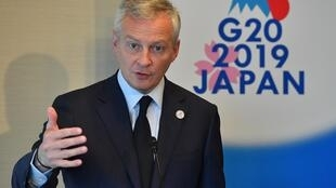 France's Finance Minister Bruno Le Maire answers a question during a news conference of the G20 finance ministers and central bank governors meeting in Fukuoka, Japan June 9, 2019.