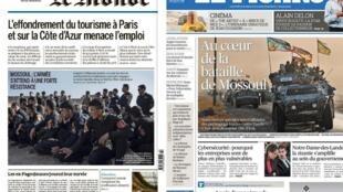 A batalha de Mossul é a manchete dos jornais franceses Le Figaro e Le Monde desta terça-feira, 18 de outubro de 2016
