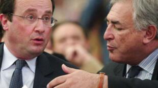 Франсуа Олланд (слева) и Доминик Стросс-Кан