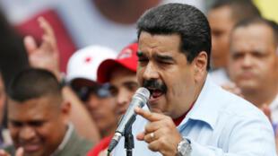 委內瑞拉總統尼古拉-馬杜羅向親政府民眾發表講話2016年5月31日加拉加斯